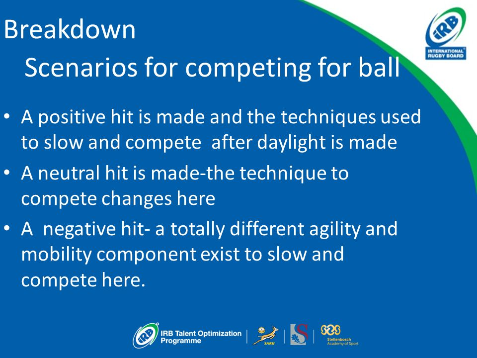 Breakdown Scenarios for competing for ball A positive hit is made and the techniques used to slow and compete after daylight is made A neutral hit is made-the technique to compete changes here A negative hit- a totally different agility and mobility component exist to slow and compete here.