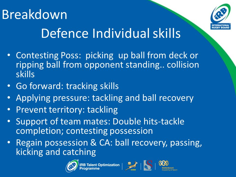 Breakdown Defence Individual skills Contesting Poss: picking up ball from deck or ripping ball from opponent standing.. collision skills Go forward: t