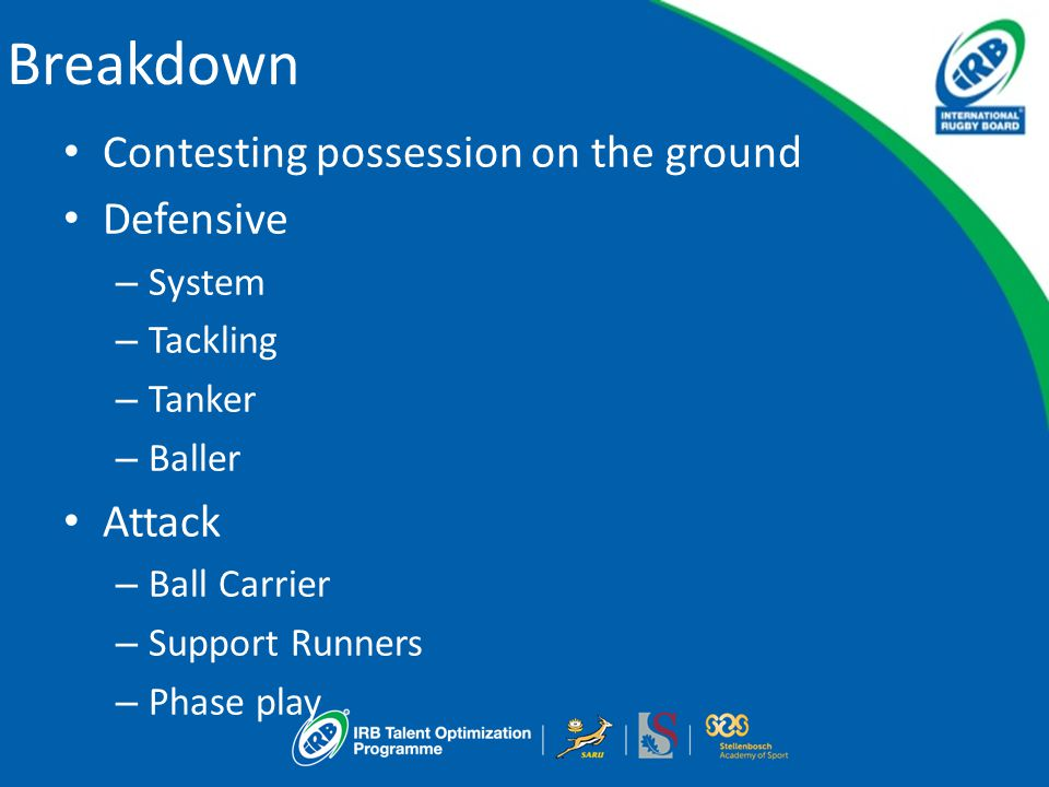 Contesting possession on the ground Defensive – System – Tackling – Tanker – Baller Attack – Ball Carrier – Support Runners – Phase play Breakdown