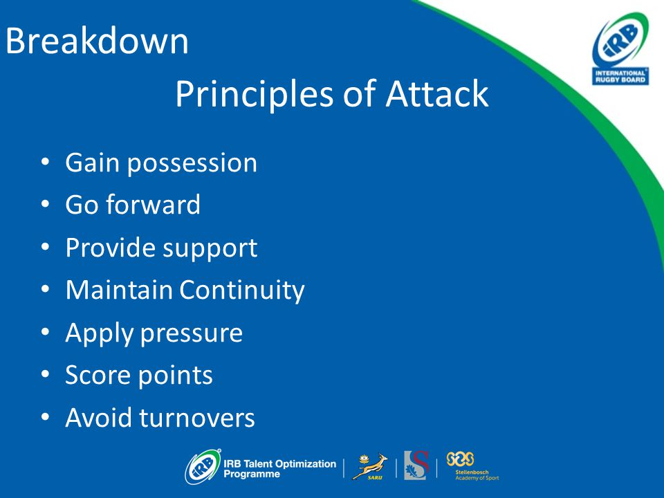 Principles of Attack Gain possession Go forward Provide support Maintain Continuity Apply pressure Score points Avoid turnovers