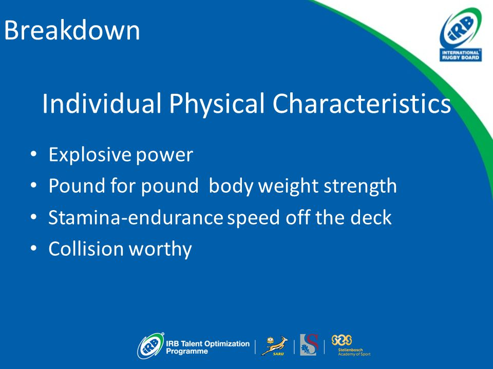 Breakdown Individual Physical Characteristics Explosive power Pound for pound body weight strength Stamina-endurance speed off the deck Collision worthy
