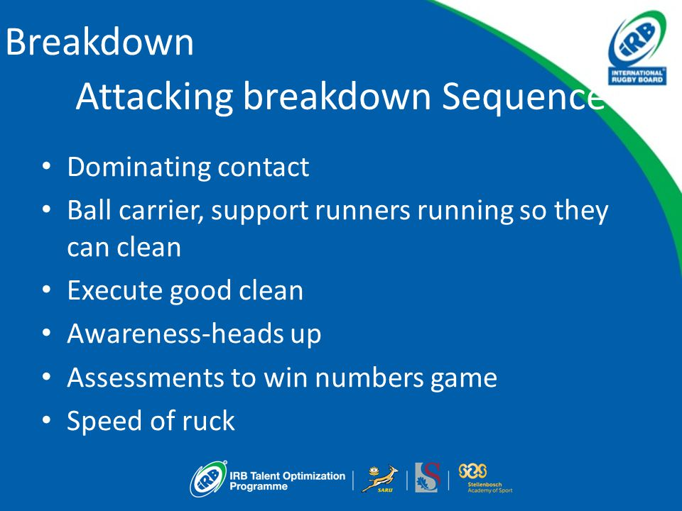 Breakdown Attacking breakdown Sequence Dominating contact Ball carrier, support runners running so they can clean Execute good clean Awareness-heads up Assessments to win numbers game Speed of ruck