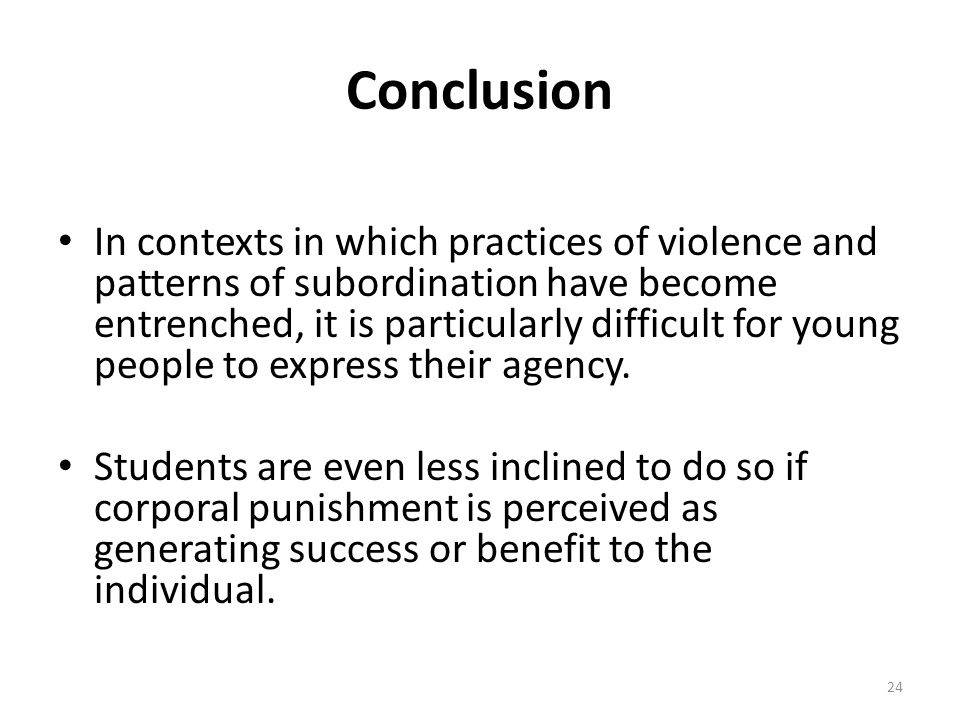 Conclusion In contexts in which practices of violence and patterns of subordination have become entrenched, it is particularly difficult for young people to express their agency.
