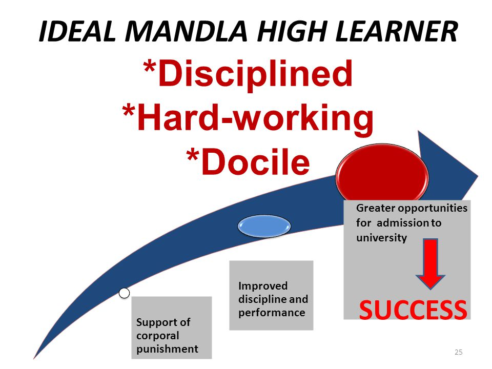 IDEAL MANDLA HIGH LEARNER *Disciplined *Hard-working *Docile Support of corporal punishment Improved discipline and performance Greater opportunities for admission to university SUCCESS 25