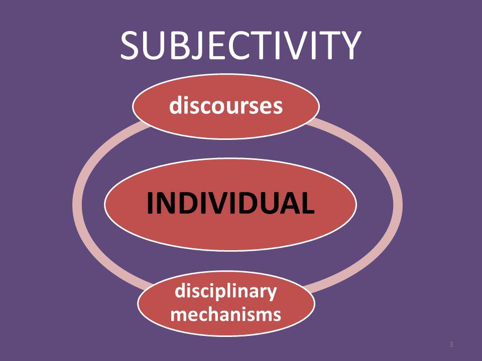 SUBJECTIVITY 3 INDIVIDUAL discourses disciplinary mechanisms