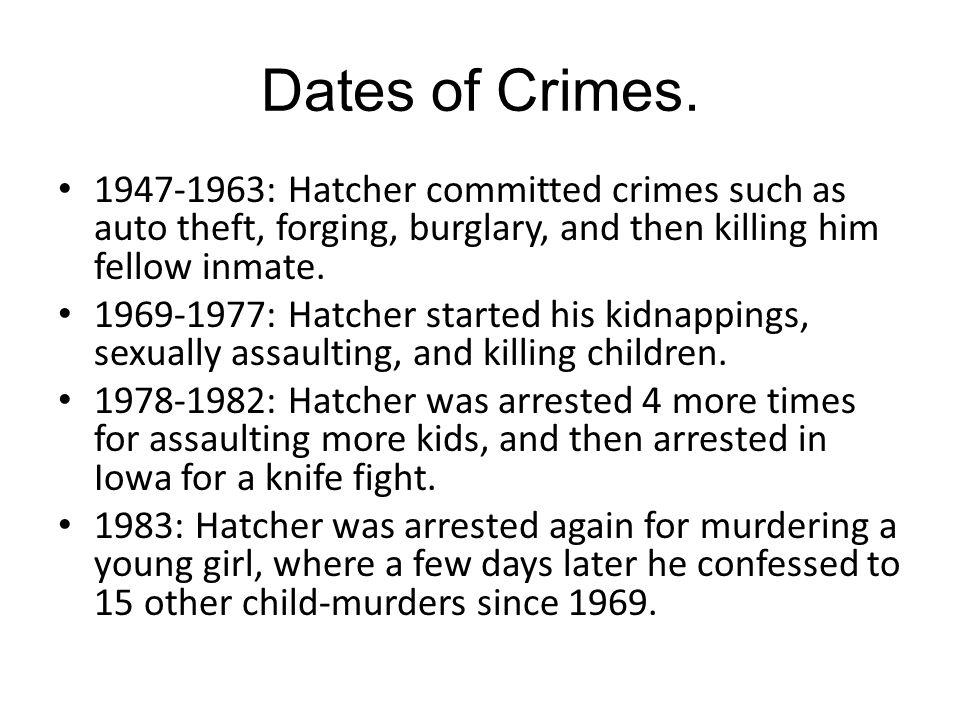 Dates of Crimes.