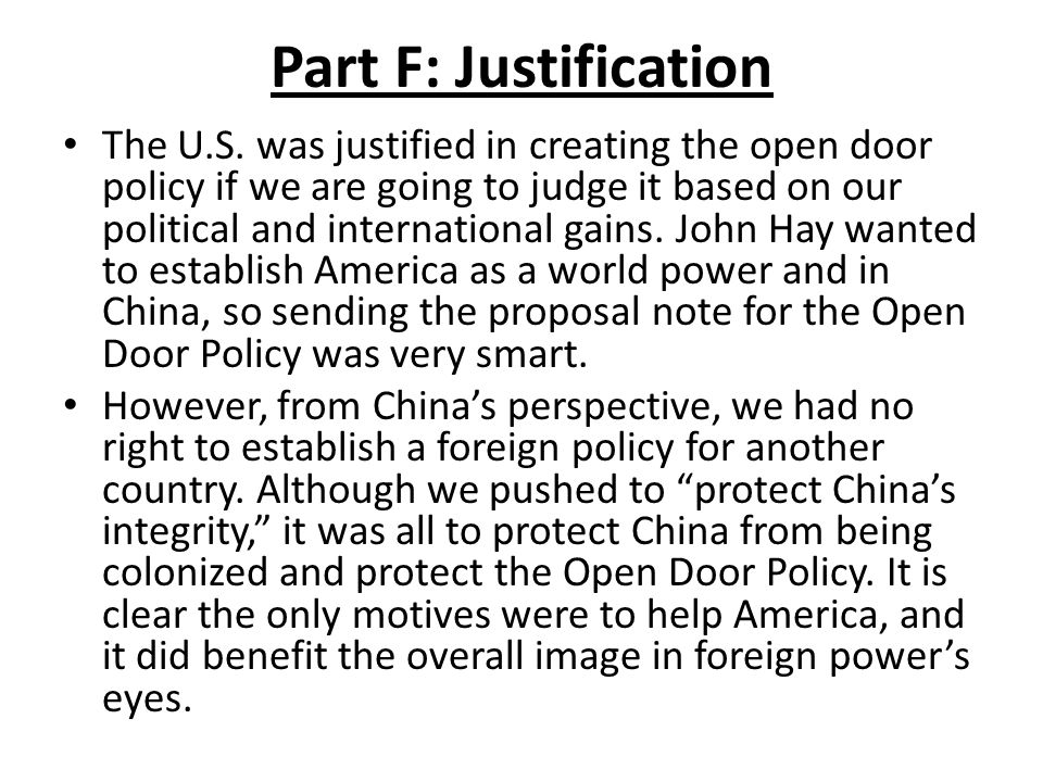 Part F: Justification The U.S.