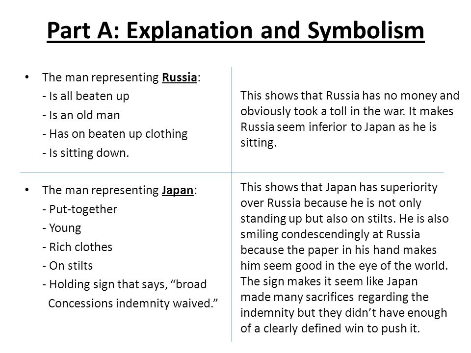 Part A: Explanation and Symbolism The man representing Russia: - Is all beaten up - Is an old man - Has on beaten up clothing - Is sitting down.
