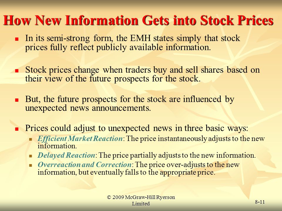© 2009 McGraw-Hill Ryerson Limited 8-11 How New Information Gets into Stock Prices In its semi-strong form, the EMH states simply that stock prices fu