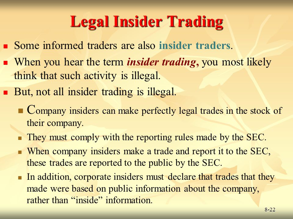 8-22 Legal Insider Trading Some informed traders are also insider traders. When you hear the term insider trading, you most likely think that such act