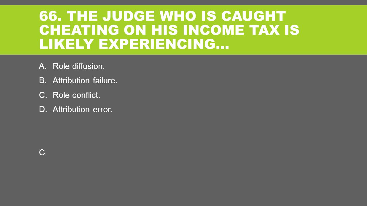 66. THE JUDGE WHO IS CAUGHT CHEATING ON HIS INCOME TAX IS LIKELY EXPERIENCING… A.Role diffusion.