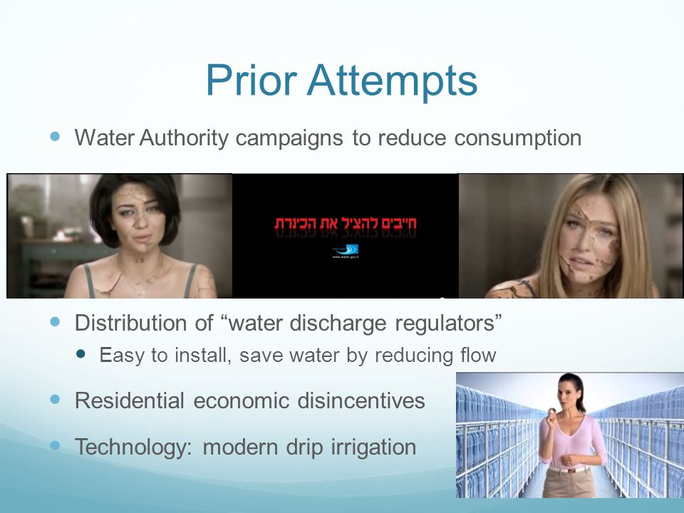 """Prior Attempts Water Authority campaigns to reduce consumption Distribution of """"water discharge regulators"""" Easy to install, save water by reducing fl"""