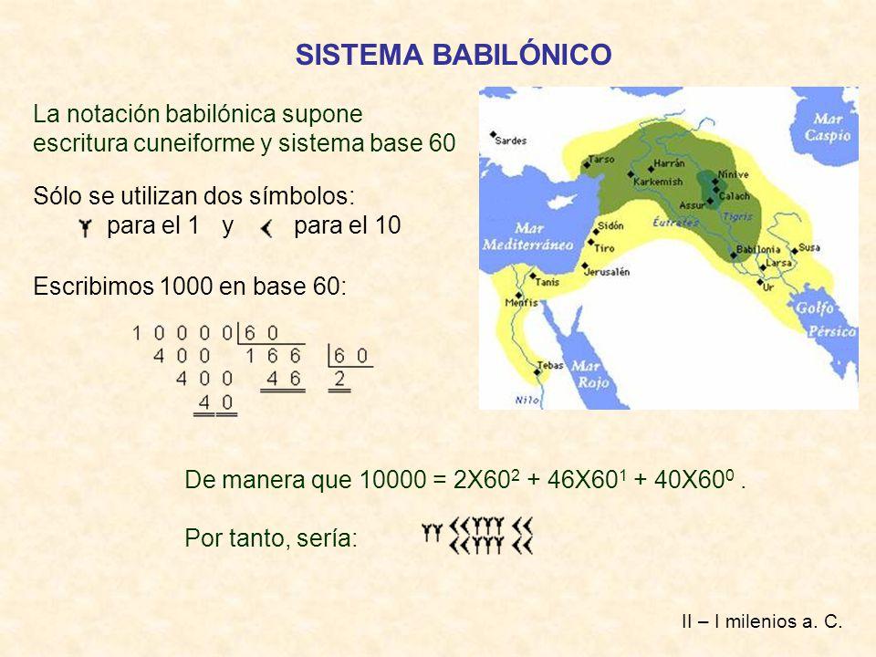 SISTEMA BABILÓNICO La notación babilónica supone escritura cuneiforme y sistema base 60 Sólo se utilizan dos símbolos: para el 1 y para el 10 Escribim