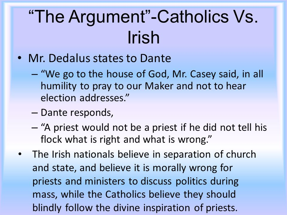 The Argument -Catholics Vs.Irish Mr. Dedalus states to Dante – We go to the house of God, Mr.