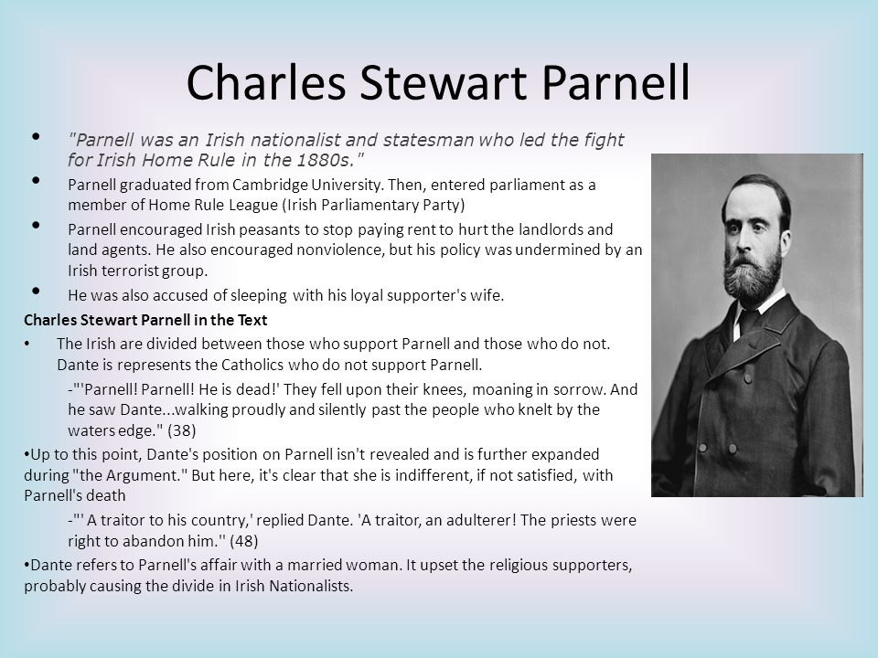 Charles Stewart Parnell Parnell was an Irish nationalist and statesman who led the fight for Irish Home Rule in the 1880s. Parnell graduated from Cambridge University.