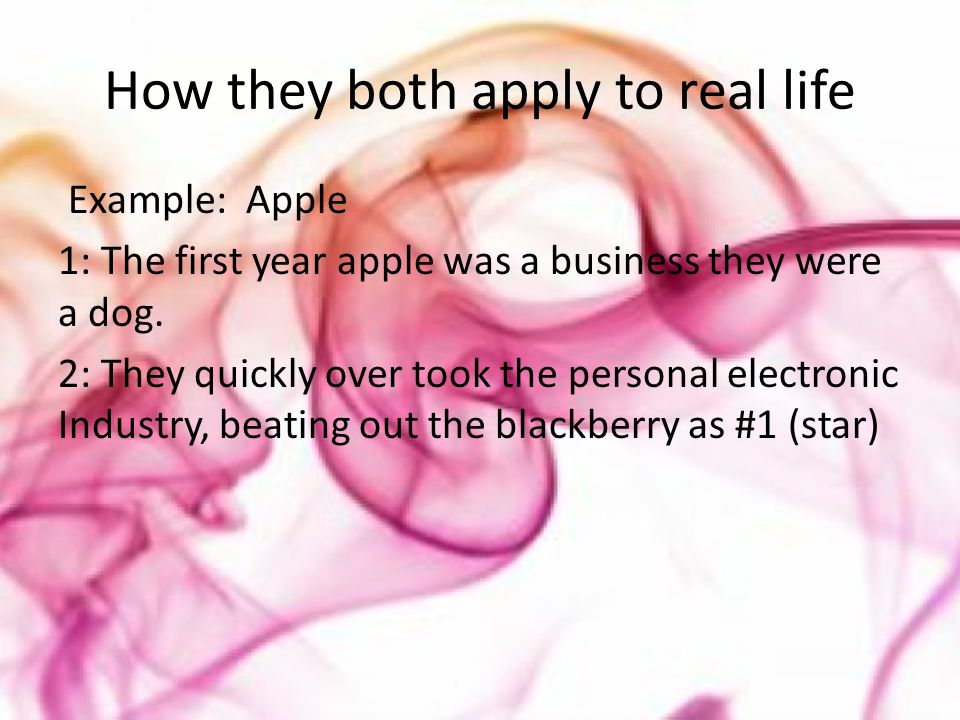 How they both apply to real life Example: Apple 1: The first year apple was a business they were a dog.