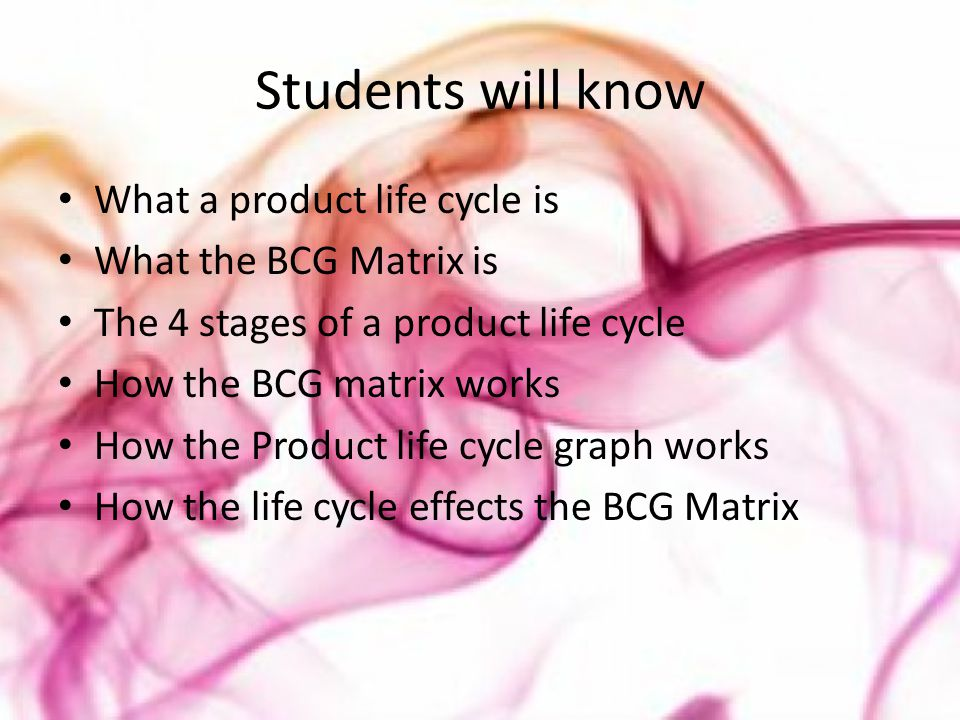Students will know What a product life cycle is What the BCG Matrix is The 4 stages of a product life cycle How the BCG matrix works How the Product l