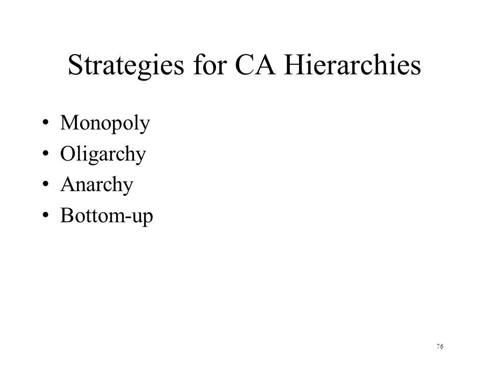 76 Strategies for CA Hierarchies Monopoly Oligarchy Anarchy Bottom-up
