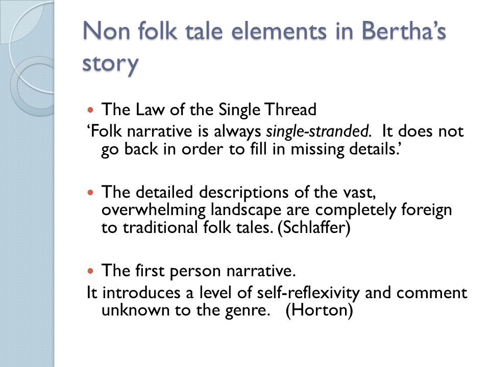 Narrative confusion Subjective and misleading information is given to the reader on three different levels: Detached philosophical observations Statements which the reader believes they can trust Information presented through the filter of Eckbert's unstable mind.