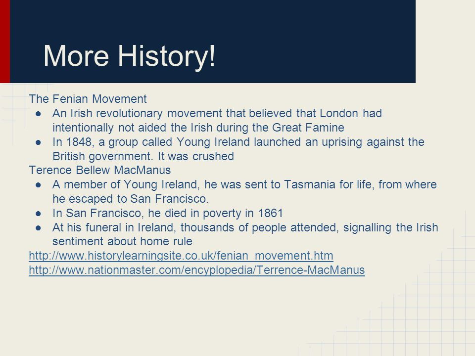 More History! The Fenian Movement ●An Irish revolutionary movement that believed that London had intentionally not aided the Irish during the Great Fa
