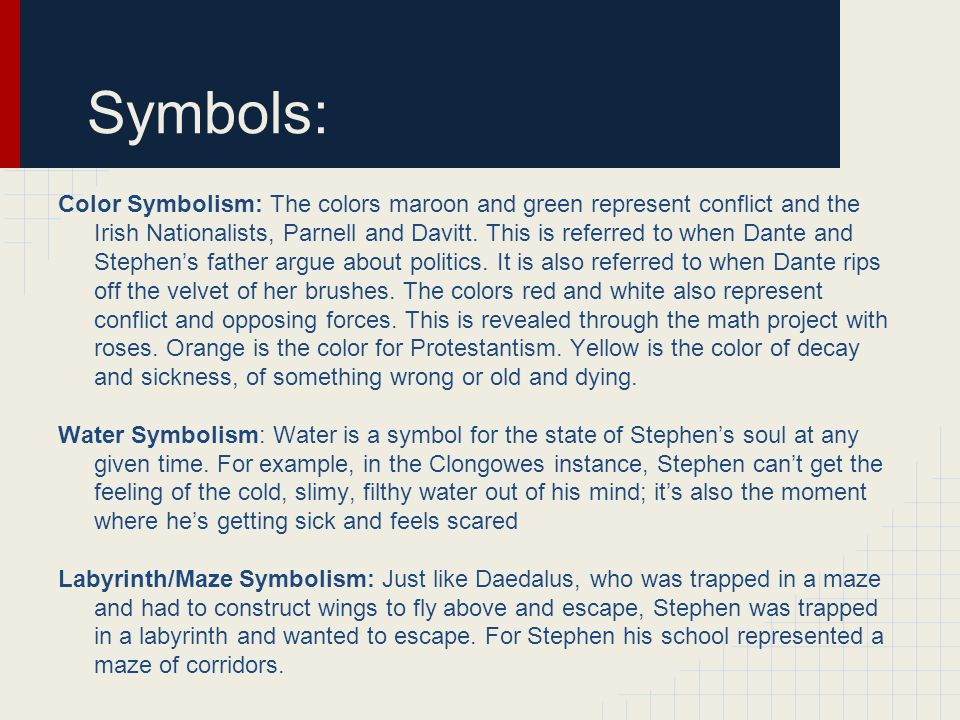 Symbols: Color Symbolism: The colors maroon and green represent conflict and the Irish Nationalists, Parnell and Davitt.