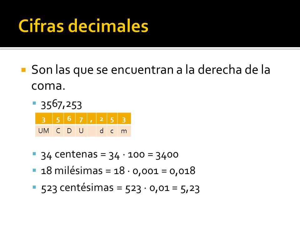  Son las que se encuentran a la derecha de la coma.  3567,253  34 centenas = 34 · 100 = 3400  18 milésimas = 18 · 0,001 = 0,018  523 centésimas =