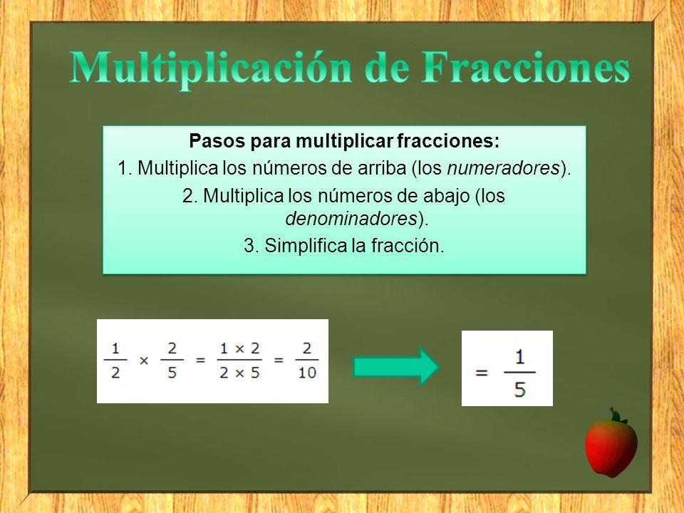 Pasos para multiplicar fracciones: 1. Multiplica los números de arriba (los numeradores). 2. Multiplica los números de abajo (los denominadores). 3. S