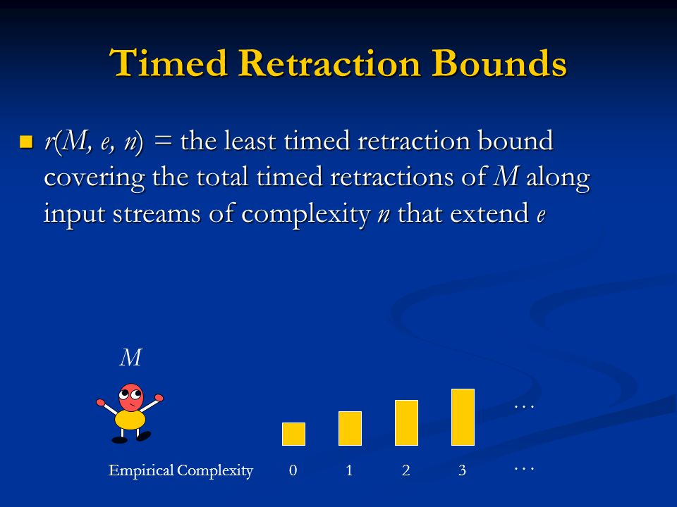 Timed Retraction Bounds r(M, e, n) = the least timed retraction bound covering the total timed retractions of M along input streams of complexity n that extend e r(M, e, n) = the least timed retraction bound covering the total timed retractions of M along input streams of complexity n that extend e Empirical Complexity0123...