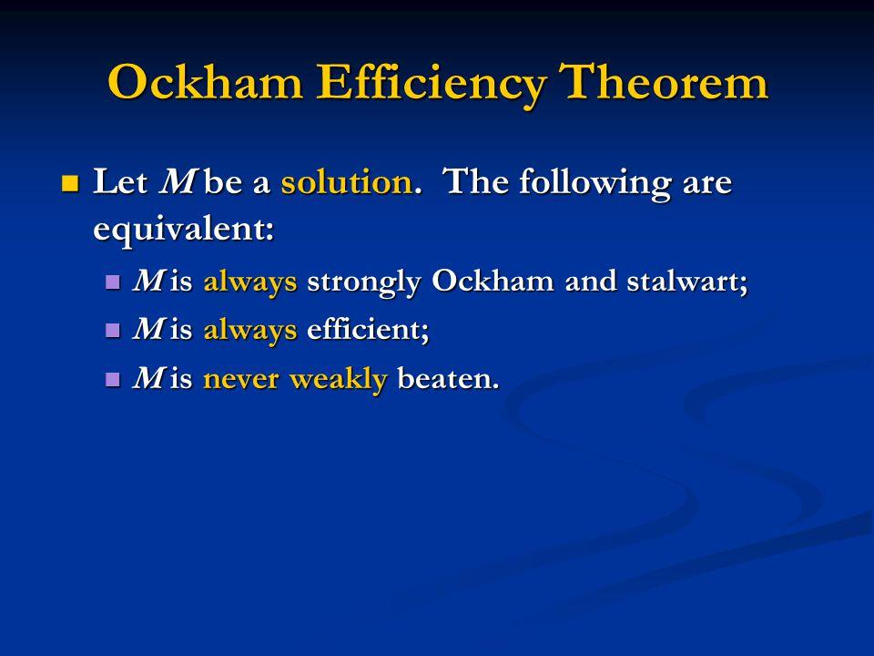Ockham Efficiency Theorem Let M be a solution. The following are equivalent: Let M be a solution.
