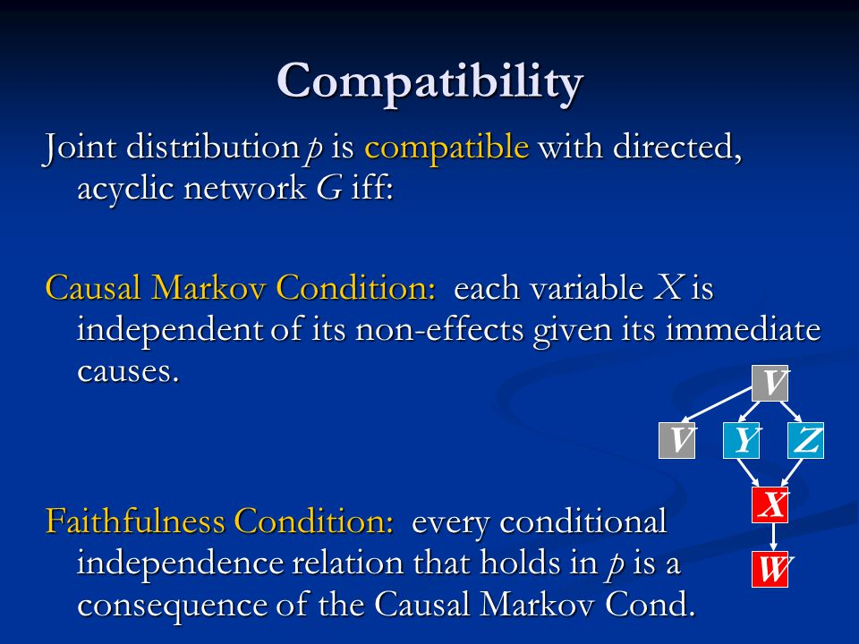 Joint distribution p is compatible with directed, acyclic network G iff: Causal Markov Condition: each variable X is independent of its non-effects given its immediate causes.