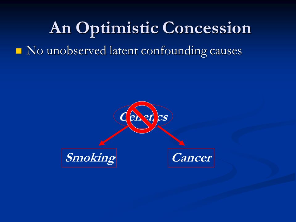 No unobserved latent confounding causes No unobserved latent confounding causes An Optimistic Concession An Optimistic Concession Genetics SmokingCancer