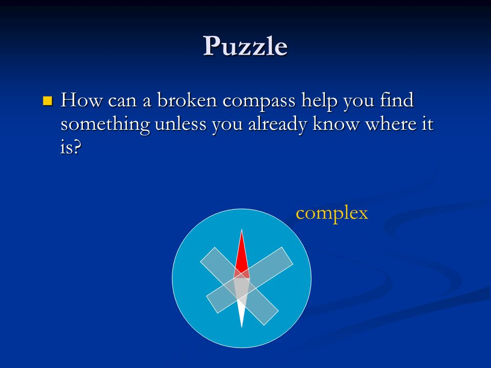 Puzzle How can a broken compass help you find something unless you already know where it is.