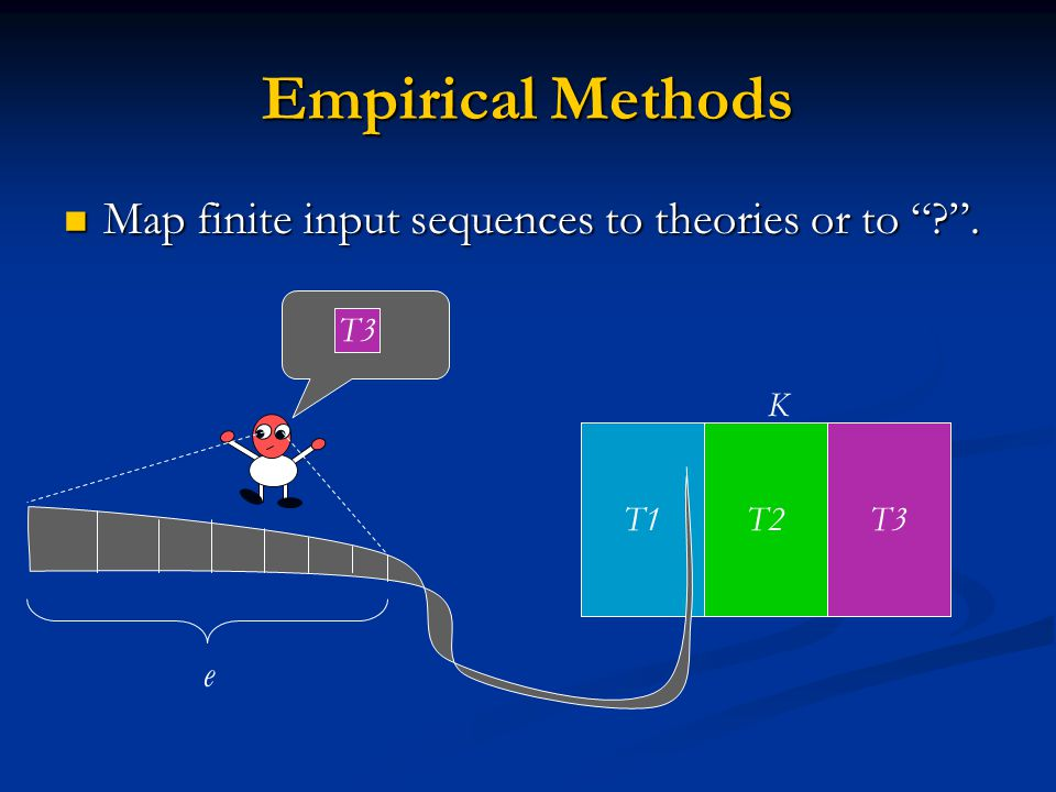 Empirical Methods T1T2T3 Map finite input sequences to theories or to ? .
