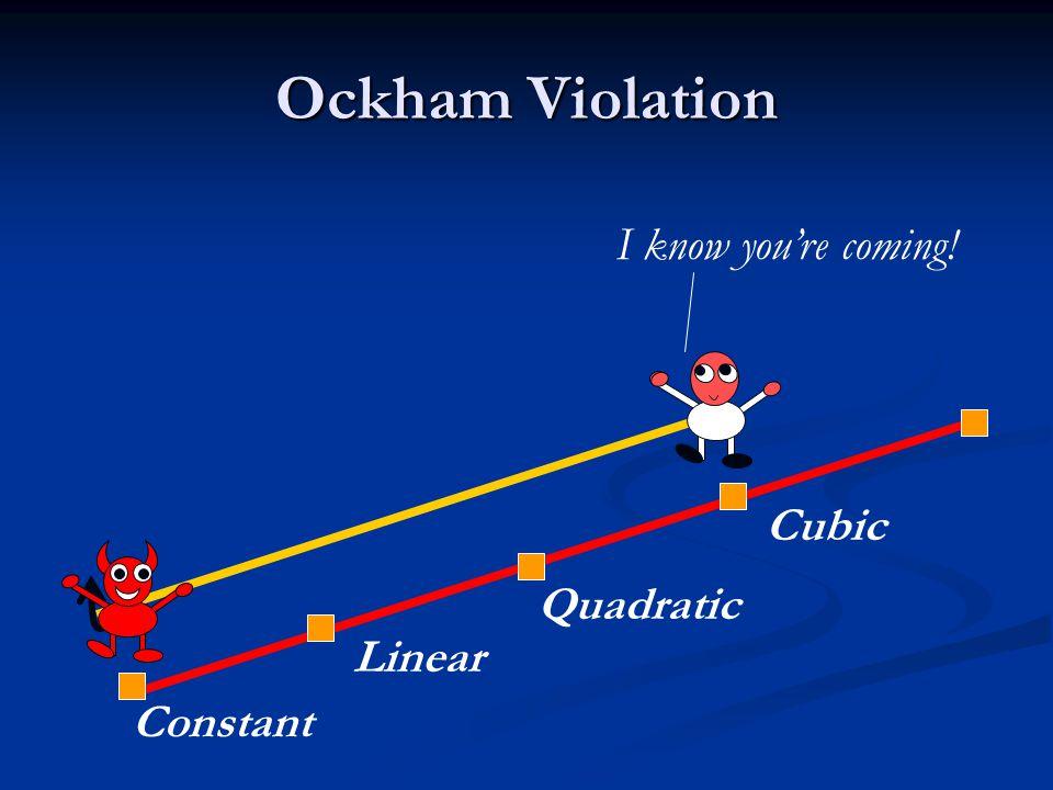 Ockham Violation Constant Linear Quadratic Cubic I know you're coming!