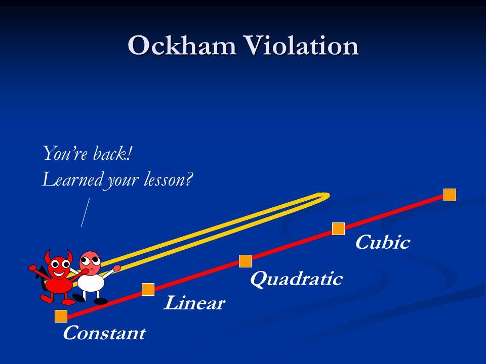Ockham Violation Constant Linear Quadratic Cubic You're back! Learned your lesson
