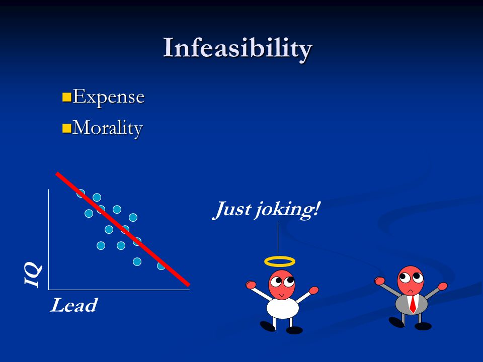 Infeasibility Expense Expense Morality Morality Lead IQ Just joking!