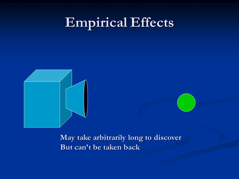 Empirical Effects May take arbitrarily long to discover But can't be taken back