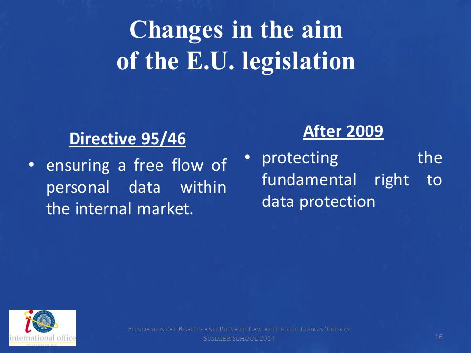 Changes in the aim of the E.U. legislation Directive 95/46 ensuring a free flow of personal data within the internal market. After 2009 protecting the