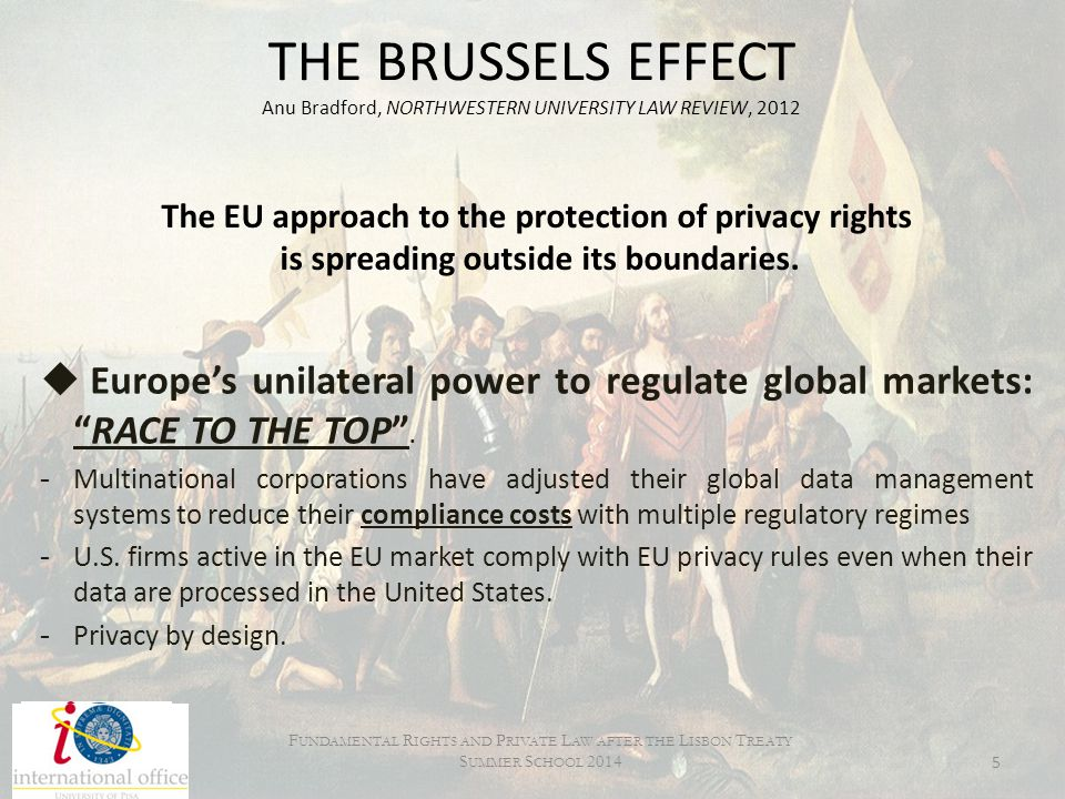Changes in the aim of the E.U.