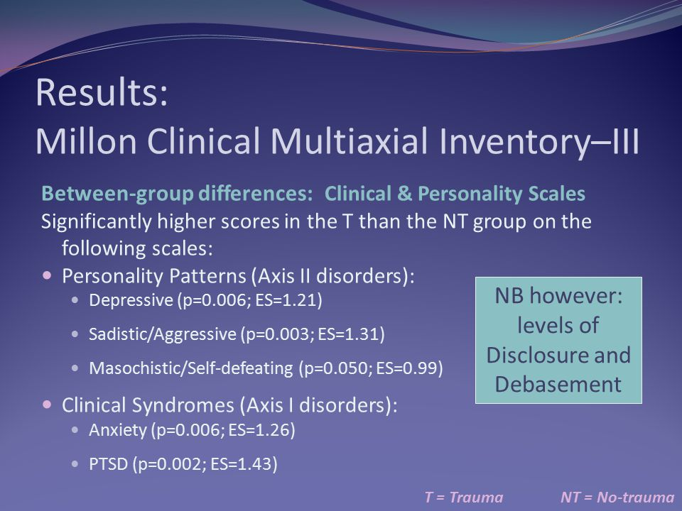 Results: Millon Clinical Multiaxial Inventory–III T = TraumaNT = No-trauma Between-group differences: Clinical & Personality Scales Significantly high