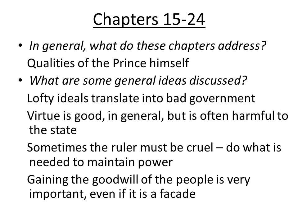 Chapters 15-24 In general, what do these chapters address.