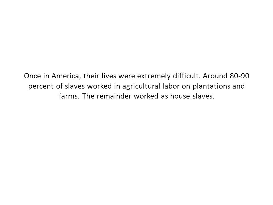 Once in America, their lives were extremely difficult. Around 80-90 percent of slaves worked in agricultural labor on plantations and farms. The remai