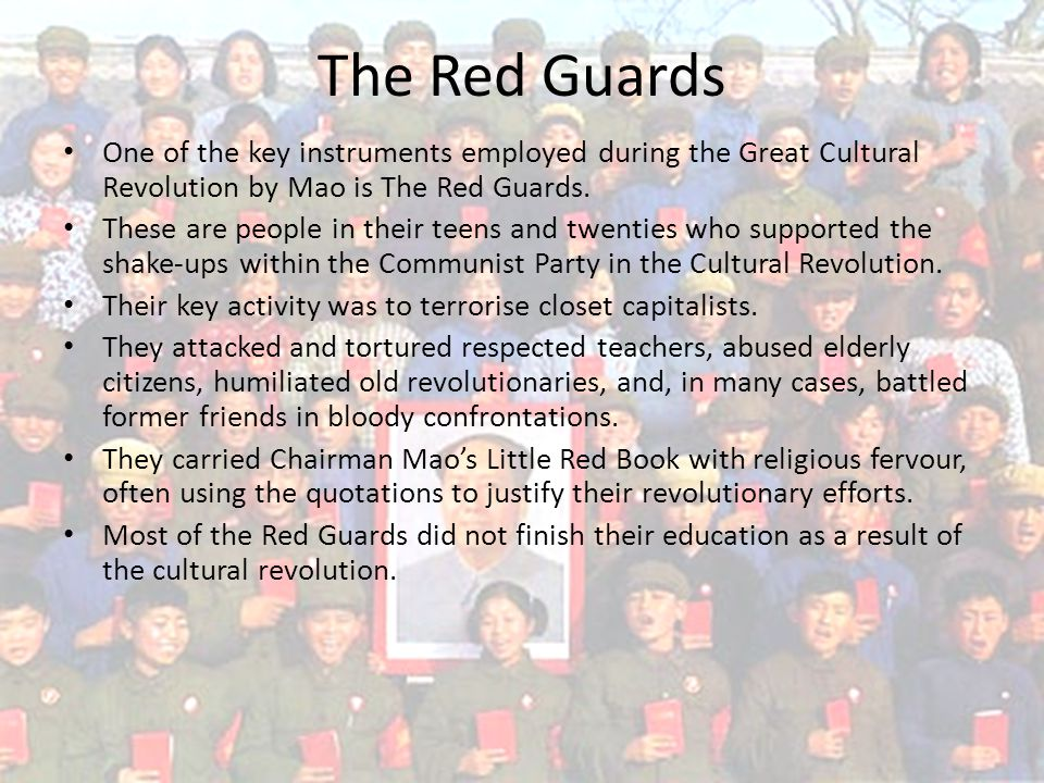 One of the key instruments employed during the Great Cultural Revolution by Mao is The Red Guards.