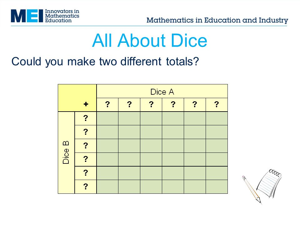 All About Dice Could you make two different totals