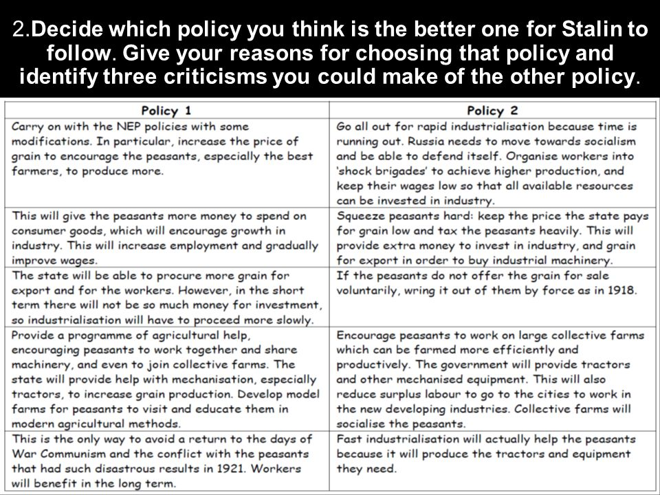 2.Decide which policy you think is the better one for Stalin to follow. Give your reasons for choosing that policy and identify three criticisms you c