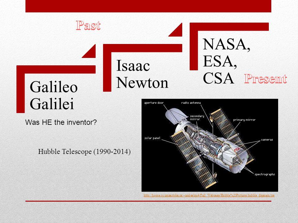 Galileo Galilei Isaac Newton NASA, ESA, CSA Was HE the inventor.