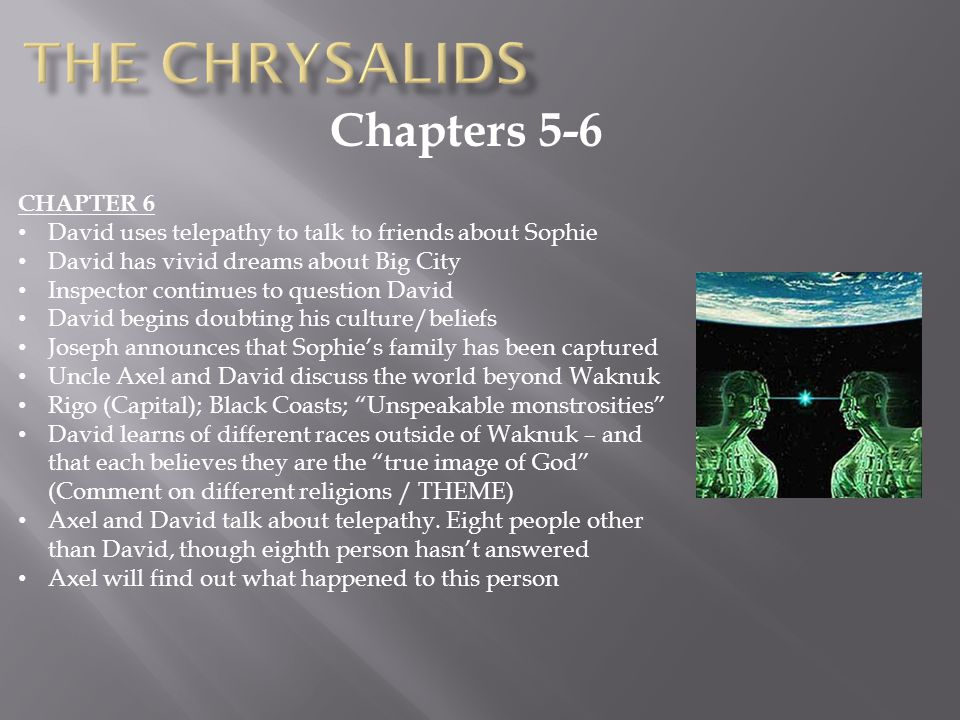 summary about the chrysalids essay The chrysalids essay topics posted: september 25, 2013 in eng 1d 0 1 compared to our society, the one that david lives in seems both familiar and unusual.