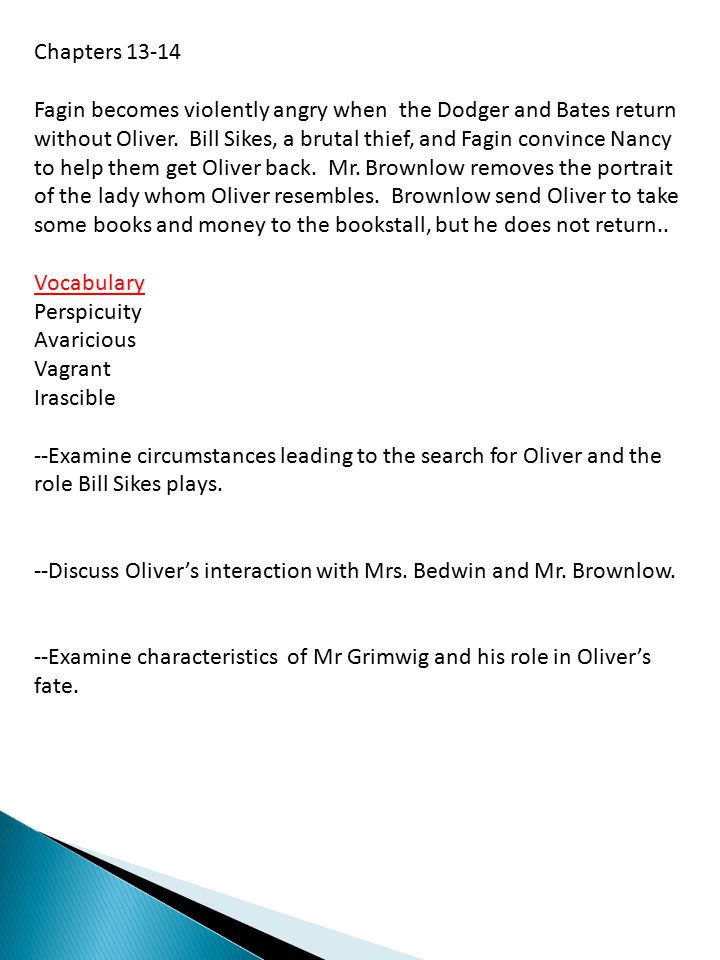 Chapters 13-14 Fagin becomes violently angry when the Dodger and Bates return without Oliver.