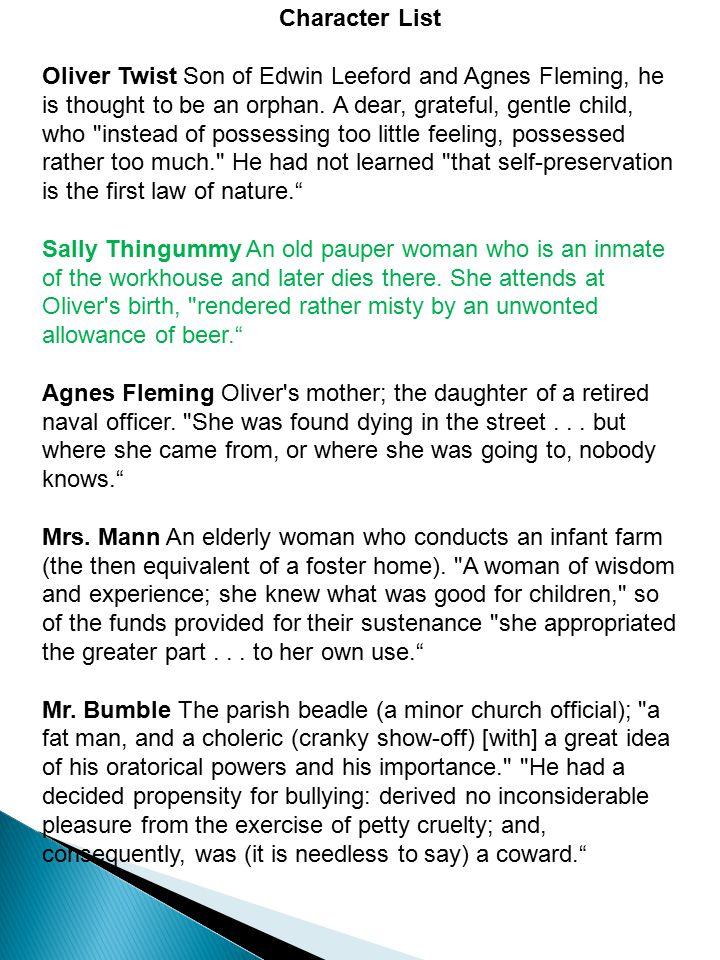--Contrast Oliver's interlude in Mr.