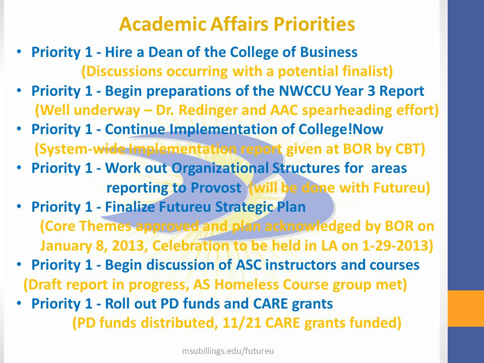 Academic Affairs Priorities Priority 1 - Hire a Dean of the College of Business (Discussions occurring with a potential finalist) Priority 1 - Begin p